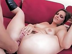 Sexy ass brunette with hairy nookie gets anal sex action