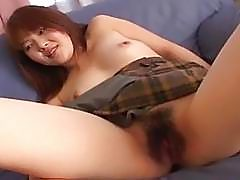 Confused and dazed Asian skank gets hairy cunt toy