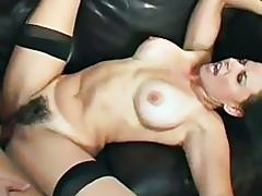 BUsty tanned brunette with hairy pussy gets banged hard